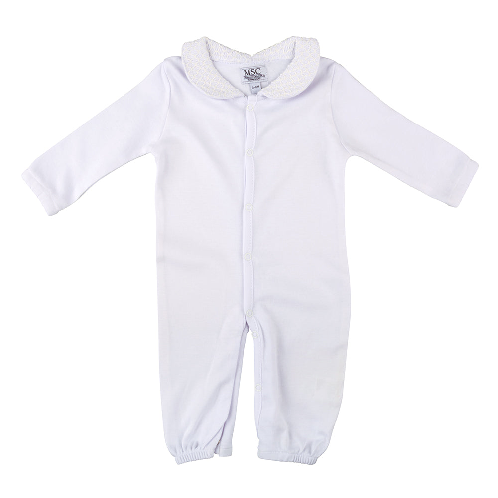 White Smocked Convertible Onesie 0-6 Months