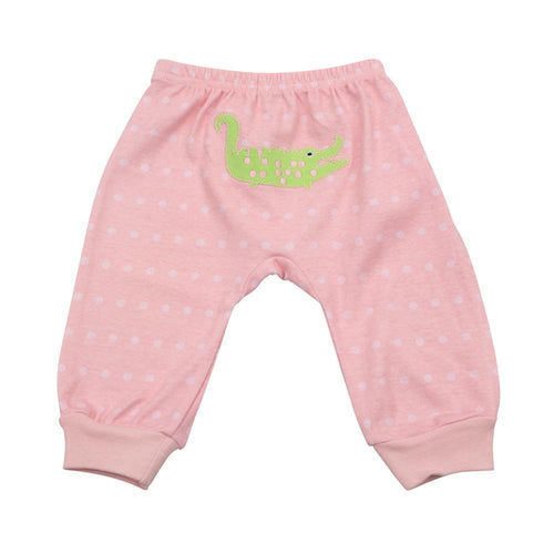 Back of pink baby pants with alligator applique