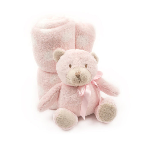Soft Plush Baby Blanket with Stuffed Animal Pink Bear