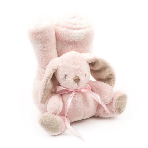 Soft Plush Baby Blanket with Stuffed Animal Pink Bunny