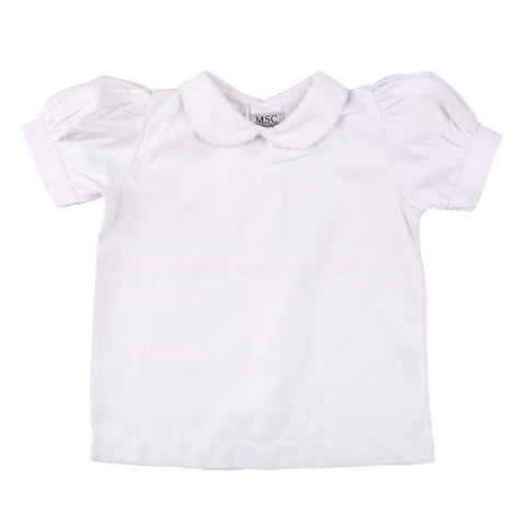 White Scallop Short Sleeve Shirt