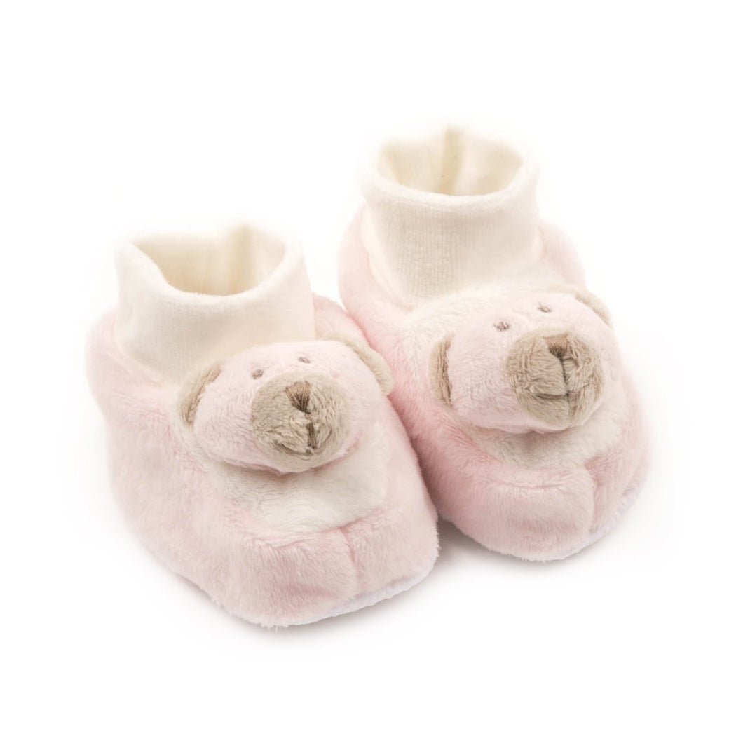 Comfy Plush Baby Booties Pink Bear - Newborn to 6 months