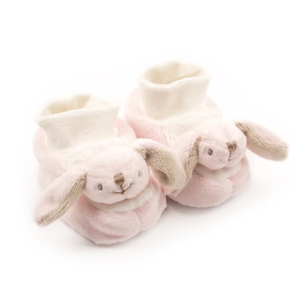 Comfy Plush Baby Booties Pink Bunny - Newborn to 6 months