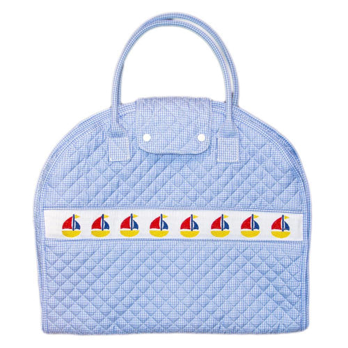 Blue Sailboat Smocked Garment Bag