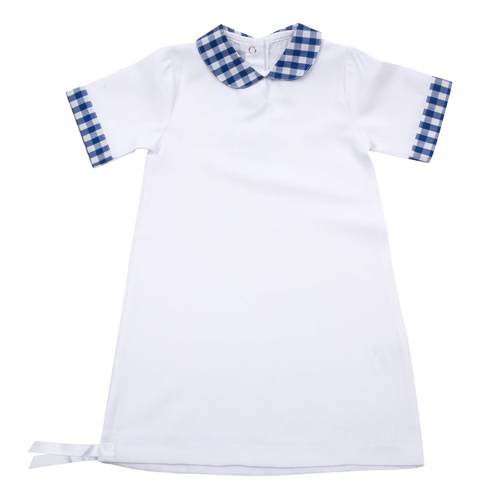 Blue Gingham Summer Baby Gown