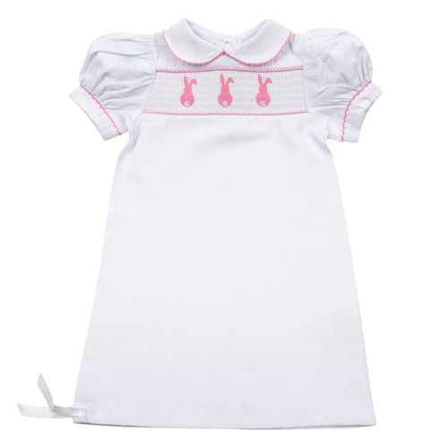 Pink Bunny Smocked Day Gown 0-6 Months