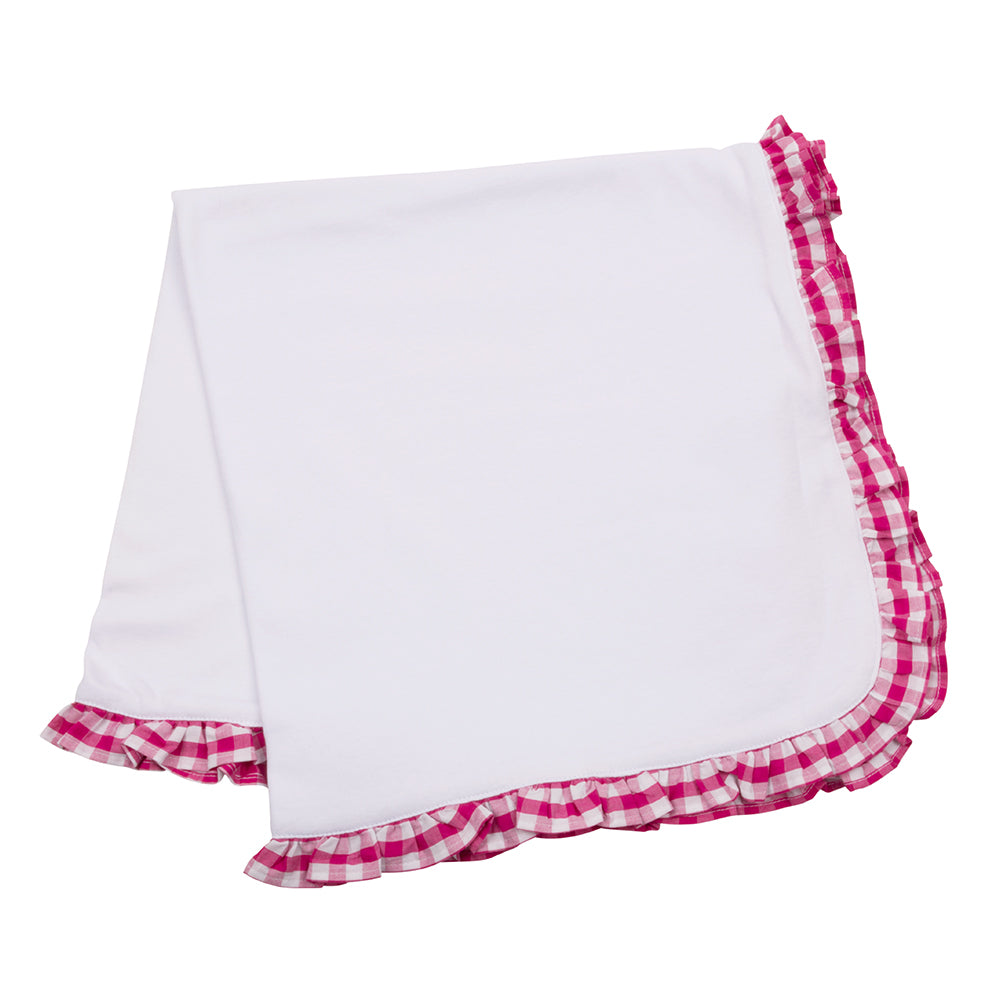 Baby Blanket with Pink Gingham Ruffle Trim