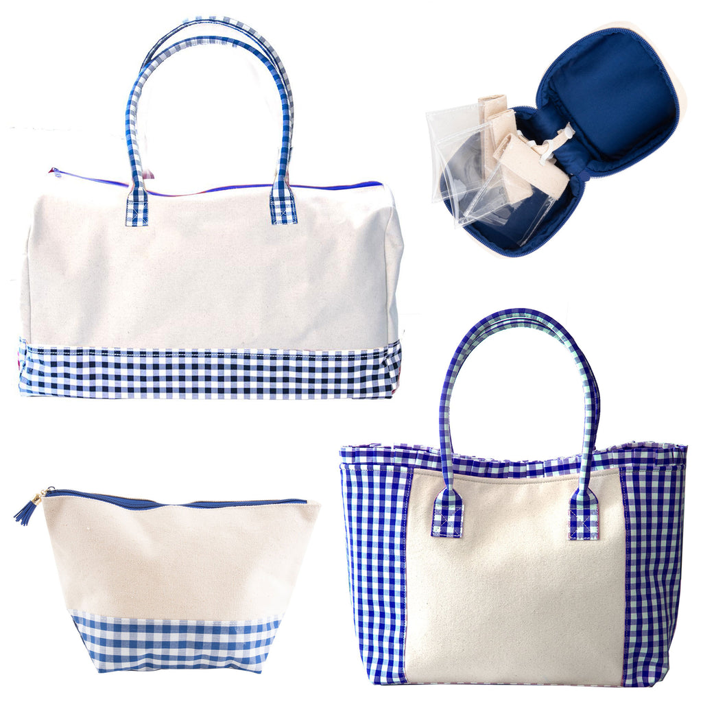 Monogrammed 4 piece Gingham Travel Set