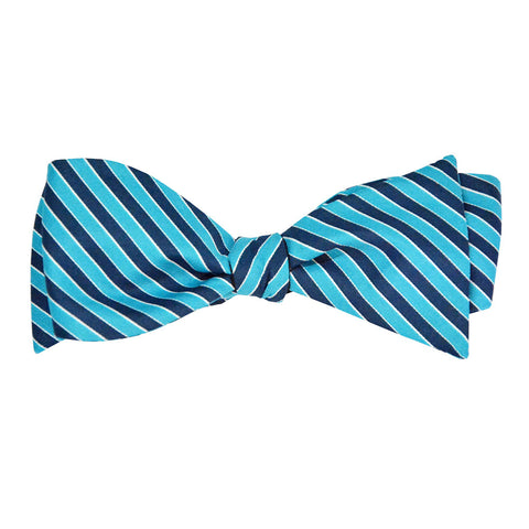 Turquoise and navy stripe bow tie