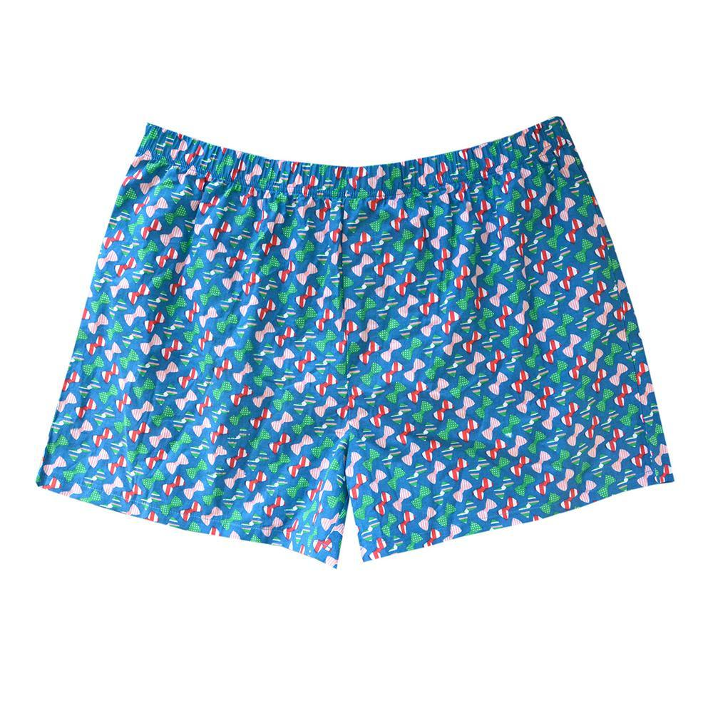 Blue boxer with bow tie pattern
