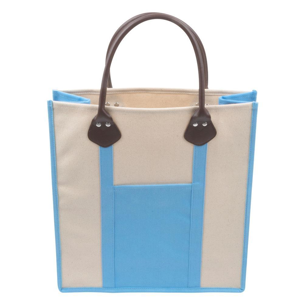 Light blue canvas tote with handles