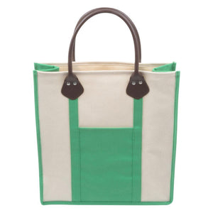 Green canvas tote with pleather handle