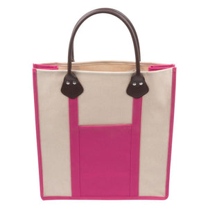 Pink canvas tote with handle