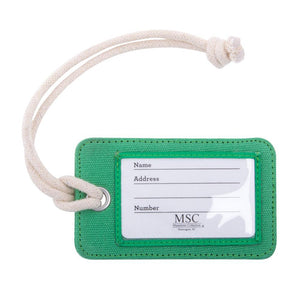 Front side of green luggage tag