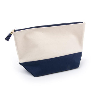navy cosmetic zipper pouch