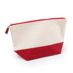 red cosmetic zipper pouch