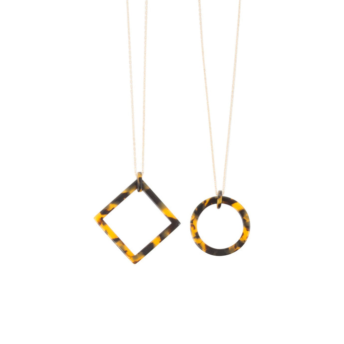 Front view of our Tortoise Frame Necklaces