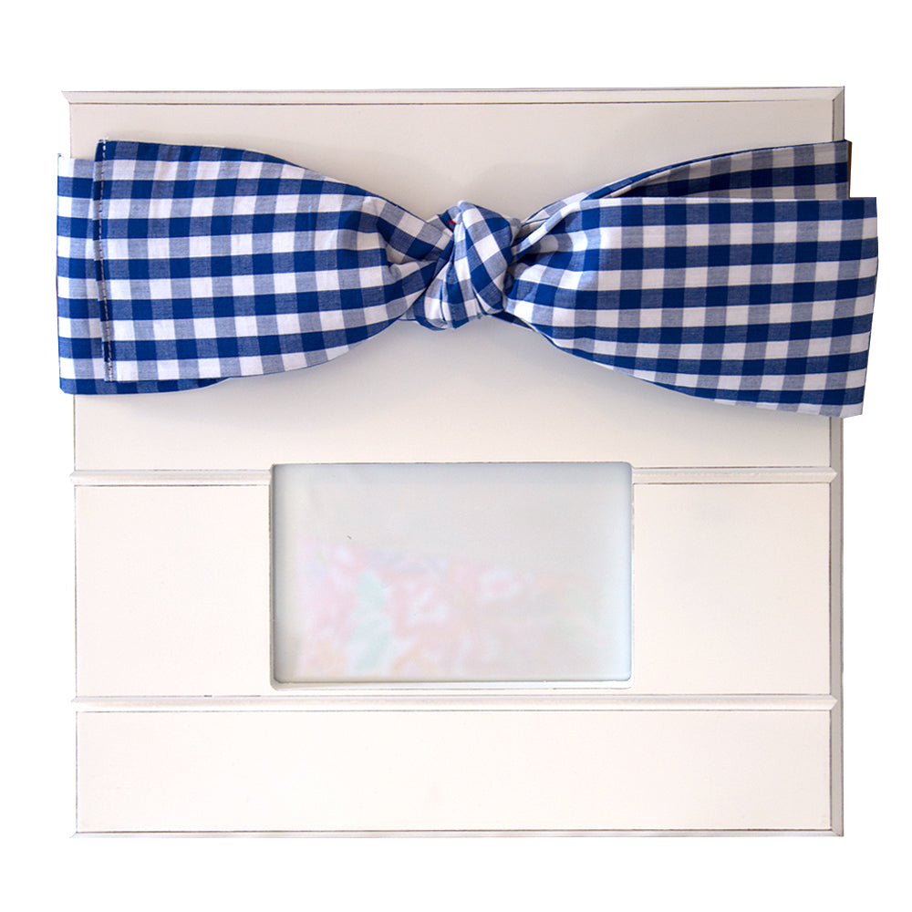 Blue Gingham bow frame with landscape photo window