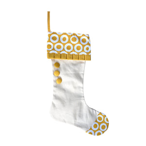 Front view of our Gold Donut Canvas Stocking
