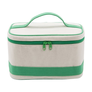 Natural train case with green accents