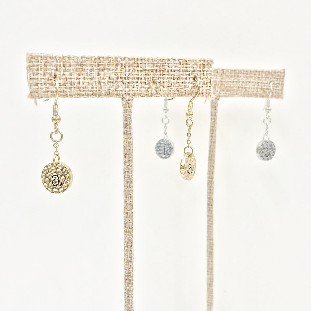 Hammered Initial Earrings