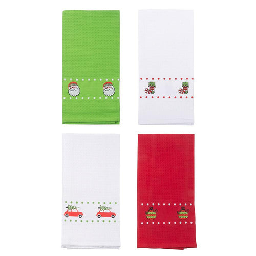 Holiday Waffle Weave Icon Dish Towels