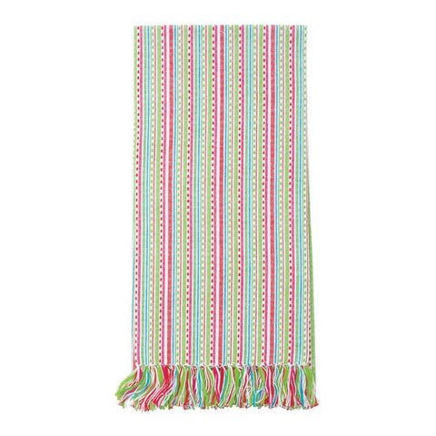 Holiday Multi Stripe Fringe Dish Towel