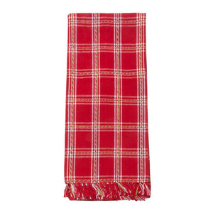 Holiday Plaid Fringe Dish Towel