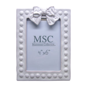 Whitewash Bow 4x6 portrait picture frame