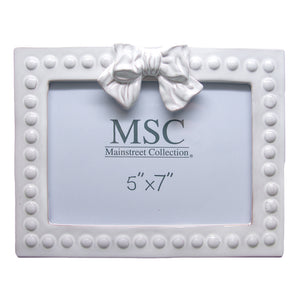 Whitewash bow 5x7 ceramic picture frame