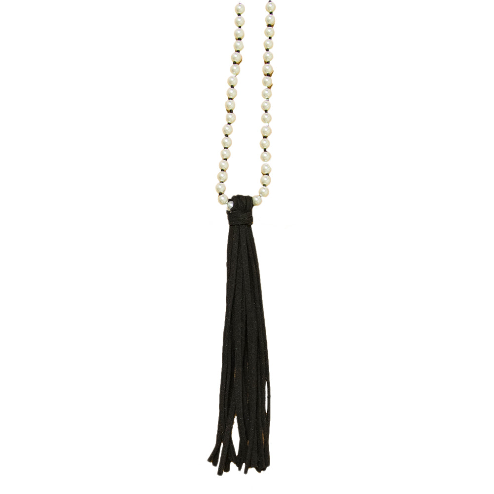 Pearl necklace with black leather tassel