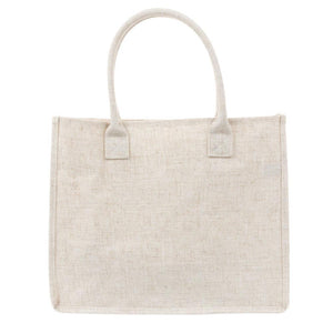 Back view of linen bow tote