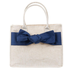 Linen Navy Bow Tote
