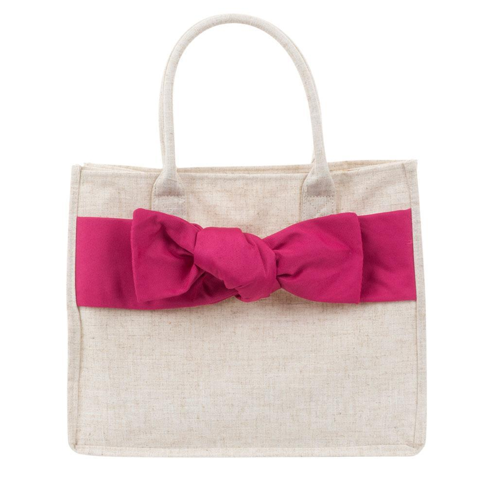 Linen Pink Bow Tote