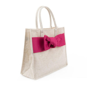 Side view of Linen Pink Bow Tote