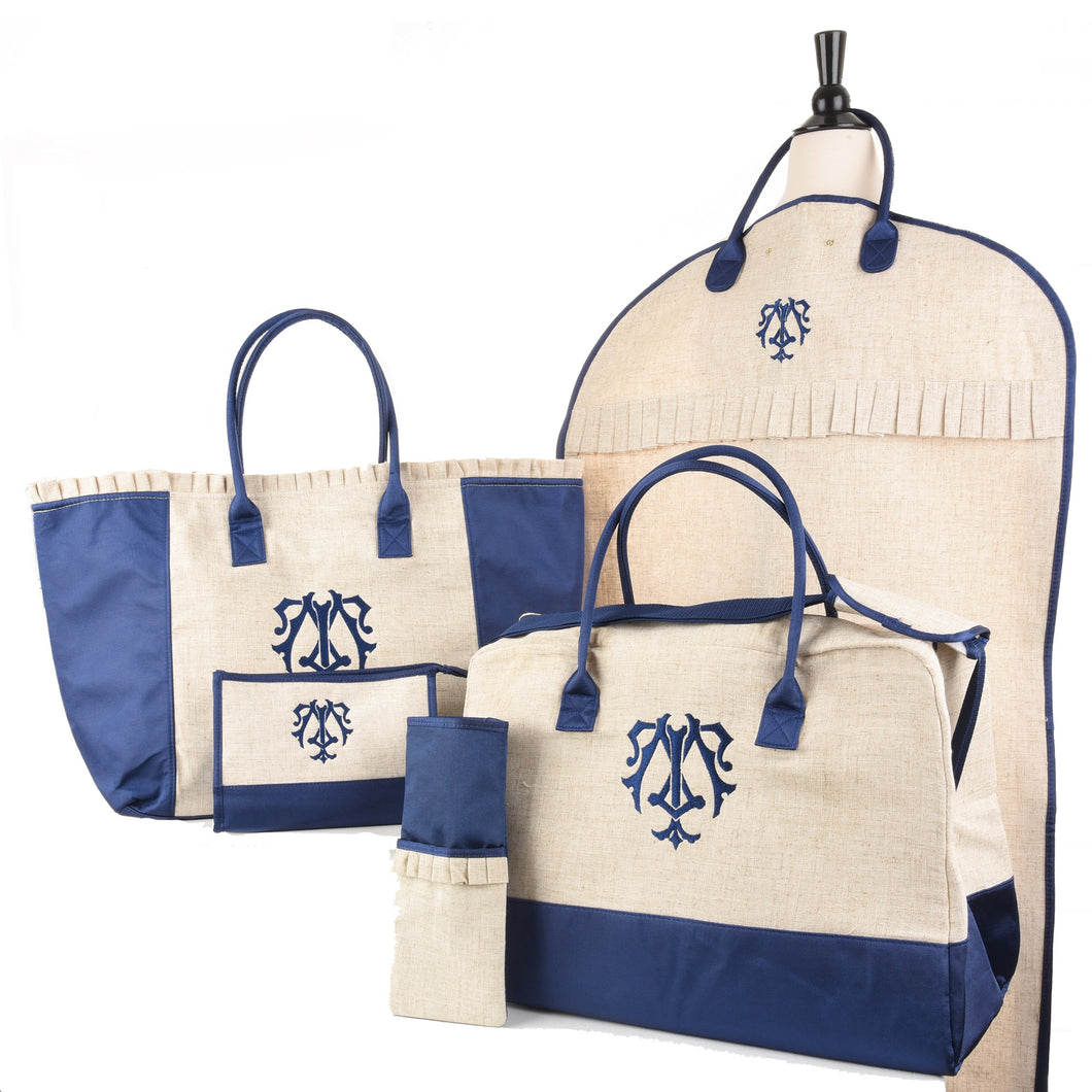 5 Piece Linen Travel Bundle with Shuler Monogram