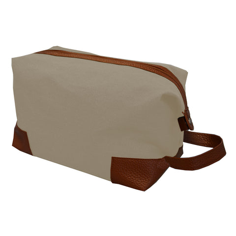 Tan canvas dopp kit