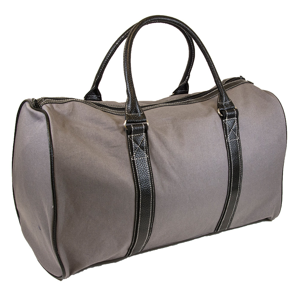 Gray duffle bag