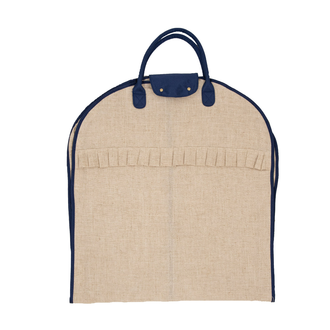 Linen Garment Bag with Navy Details