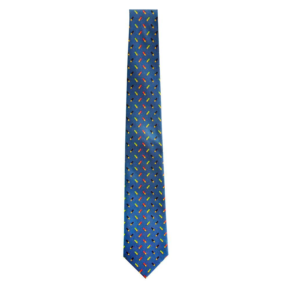 Navy neck tie with shotgun shell pattern