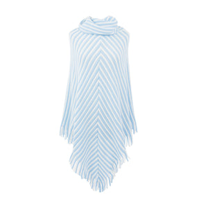 Front view of our Periwinkle Stripe Fringe Poncho