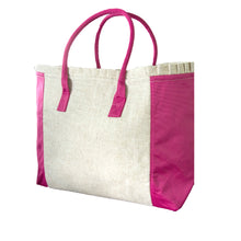 Load image into Gallery viewer, Pink Linen Weekender Tote