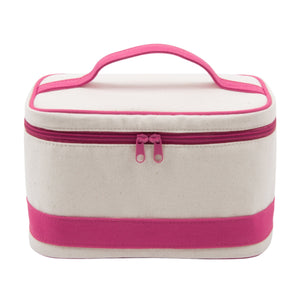 Natural color train case with pink accents