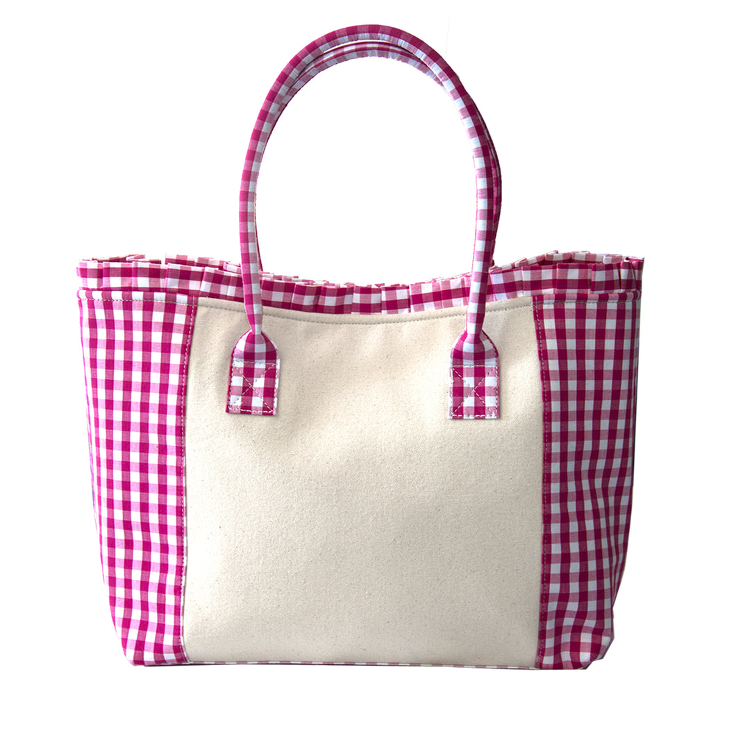 Pink gingham tote bag