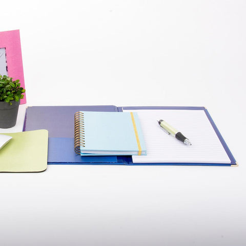 Lifestyle view of Navy Lizard Notebook Portfolio
