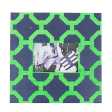 Load image into Gallery viewer, Front view of our Navy and Green Trellis Picture Frame