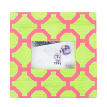 Load image into Gallery viewer, Front view of our Lime and Pink Trellis Picture Frame
