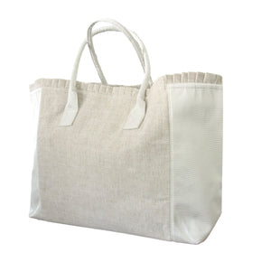 White Linen Weekender Tote