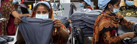 Women workers in a Bangladesh clothes factory producing fast fashion