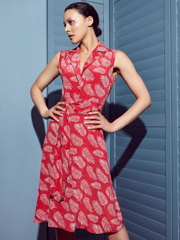 Silk red dress with white feather print